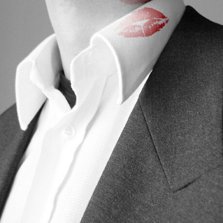 lipstick on collar